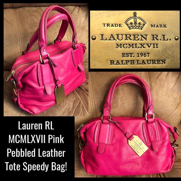 75eb2eedc6 Lauren Ralph Lauren Handbags - Lauren RL MCMLXVII Pink Leather Tote Speedy  Bag!
